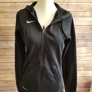 Nike Small Black Fitted Therma Fit Zip Up Jacket